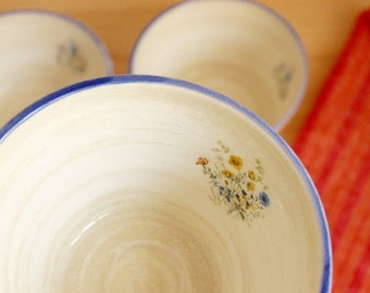 Blue rim bowl White and blue ceramic bowl Flower decal Cobalt blue  - Ready to ship