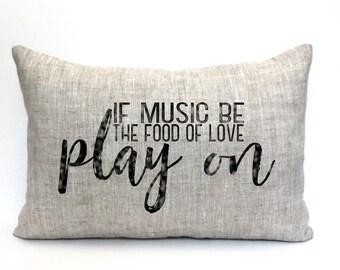 """music teacher gift, music lover, music pillow, music gift, music room decor, music room pillow """"The Play On"""""""