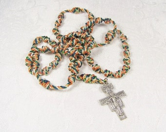 Cord Rosary Fiber Beads San Damiano Cross Numbers Verse Assisi Vintage