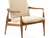 Danish Sculpted and Carved Mid-Century Modern Rosewood Lounge Arm Chair, Vintage, 601ZMP18P