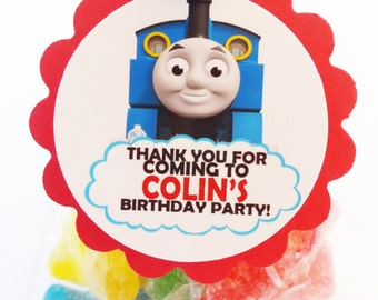 "Personalized Thomas and Friends Train 2"" Scallop Favor Bag Tags"
