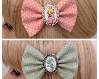 Princess Peach Yoshi hair bow clip rockabilly psychobilly kawaii pin up geek Nintendo mario luigi peach fabric ladies girls cameo punk cute