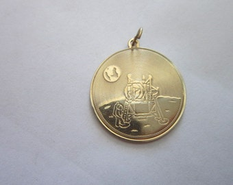 Vintage 14 K Solid Yellow Gold Apollo 11 Charm 1969 Famous Neil Armstrong Quote