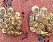 fabulous pair of gold and rhinestone stunners!