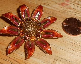 "Vintage M JENT Gold Tone Open Work Brown / Red Enamel Amber / Rootbeer & Orange Yellow Rhinestone Figural ""Flower"" Brooch - Fall Colors"