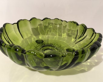 Vintage Green Glass Chip & Dip/ Salad Bowl 6 Small Bowls included Indiana Glass Co Large