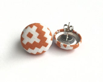Button earrings orange aztec diamonds fabric earrings