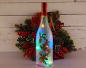 Christmas decoration, wine bottle lamp, hand painted holly