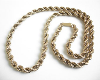 Long Vintage Gold Plated Thick Twisted Rope Chain Necklace 30 3/4""