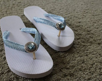 White Flip Flops with Blue Accents