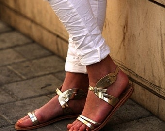 40% OFF Gold Leather Women's Sandals, Wedding Sandals, Gold Flats, Women's Shoes with Elegant Back Detail, Womens Flat Sandals
