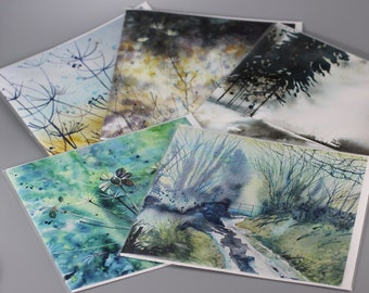 Fine Art card set of 5, from original watercolour art, card gift set, personal touch gift, watercolor cards