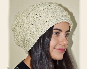 Slouchy cable patterned beanie - LT Praire WHEAT (Or Choose Color) - womens teen girls - accessories - vegan friendly - gift