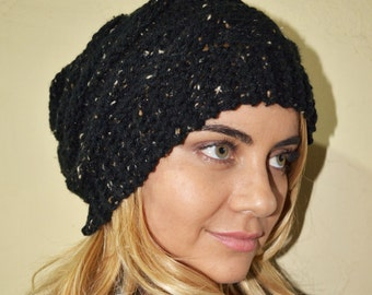 Slouchy beanie hat - BLACK TWEED - crochet - womens Winter Autumn accessories
