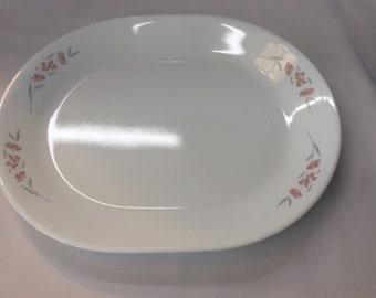 "Vintage Corelle Silk Blossoms Oval Platter 12 1/4"""