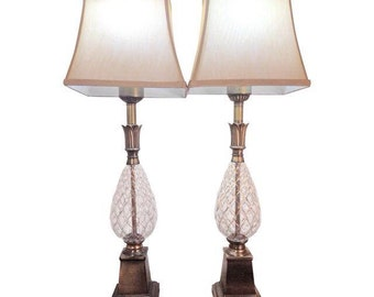 Antique Pineapple Shaped Glass Lamps - A Pair