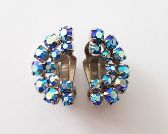 Vintage 'Rainbow' Earrings, Blue