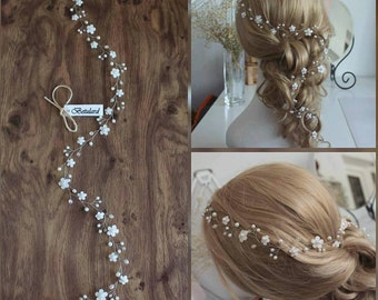 FAST DELIVERY! White Floral Cyrstal Pearl Bridal 75 cm Long Hair Vine Wedding Headband