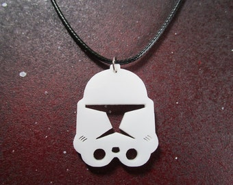 Star Wars Clone Troopers Phase Helmet Necklace White Acrylic Cosplay ARC Trooper Captain Rex