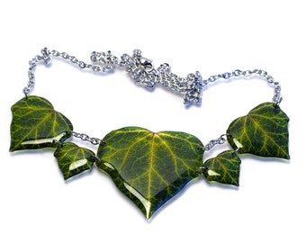 Dark ivy leaves necklace, jewellery box included. Made in England.