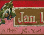 1900 Era Edwardian Happy New Year Postcard Featuring Snowy Pine Cones Set on a Deep Red and Gold Embossed Background