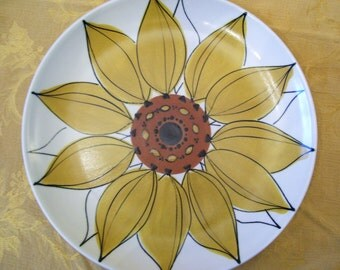 JUST REDUCED! Arabia Finland Platter Sunflower Design Vintage