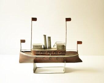 Vintage Handmade Tinplate Ship