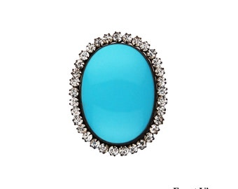 Vintage Clear Rhinestone and Turquoise Enamel Brooch