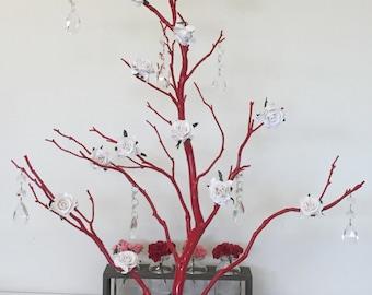 """Manzanita tree. Red Painted Manzanita, Jewelry tree, Wedding Centerpiece, 26"""" Manzanita, Red Manzanita on base"""