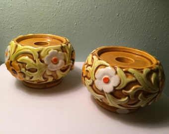 Vintage Daisy Fred Roberts Embossed Candle Holders
