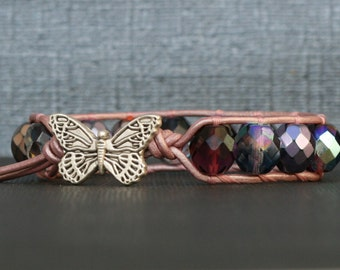 bohemian jewelry - butterfly jewelry - mixed pink and purple crystal on light pink leather single wrap bracelet - boho glam