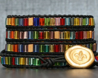 wrap bracelet- czech glass rectangles on black leather- stained glass colors- made to order