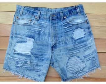 Bleached and Distressed Denim Shorts