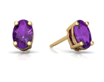 14Kt Yellow Gold Amethyst Oval Stud Earrings