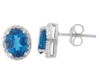London Blue Topaz & Diamond Oval Stud Earrings .925 Sterling Silver