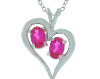 Ruby Oval Heart Pendant .925 Sterling Silver