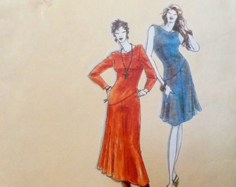 Gored Dress, Diagonal Waist Seam, Cowl Neckline, La Fred Bloebaum HELENA DRESS Sewing Pattern, Miss Sizes 4 - 26 UNCUT 1990's