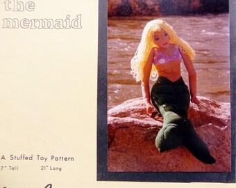 "Vintage Marnie The Mermaid Stuffed Toy Sewing Pattern, Gentle Creatures by Yvonne Peetz - Big 17"" Tall x 21"" Long UNCUT 1980s"