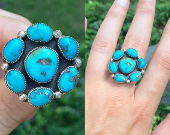 vintage Native American southwestern cowboy sterling silver turquoise cluster flower ring size 9