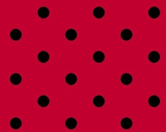 Dotsy by Blank Quilting,8026 88 Red with Black Dots