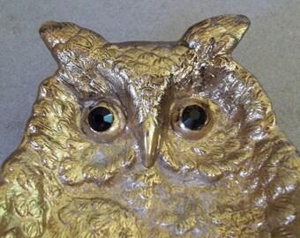 Vintage Gilded Owl Tray,Owl Trinket Tray,Owl Paperweight,Gilded Owl Bowl,Woodland Owl, TAN Tray