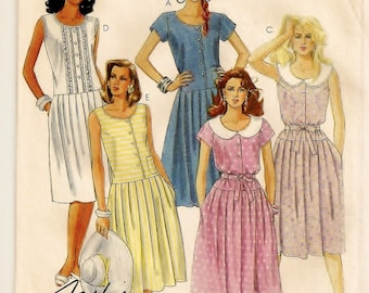 A Pullover Drop Waist, Pleated Skirt, Sleeveless/Short Sleeve Dress w/ Collar Variations Pattern for Women: Uncut - Size 16 • McCall's 3692