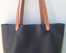 Black Leather Totes - Natural leather handle totes - Leather bags - black leather shoulder bags - Purse - Minimalist Tote Bags
