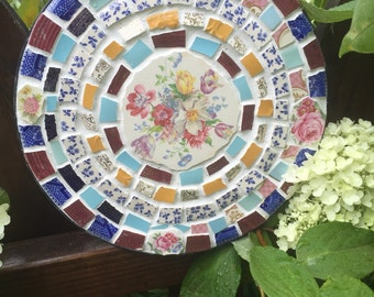Vintage Broken China Mosaic Wall Hanging - Garden Decor - 100% Recycled - Indoor/Outdoor - FREE SHIPPING