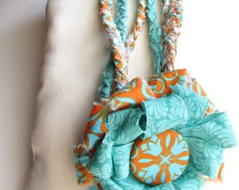 Boho braided necklace Fabric bracelet Handmade button flower Infinity necklace Multi-strand anklet Flower pin back Orange Teal necklace