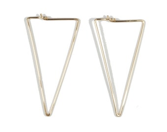Trilateral Number One. Triangle hoop earrings.