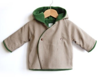 Handmade Hooded Baby and Toddlers Jacket made of mixed wool. Warm and cozy coat with fleece. Sizes NB -> 4T - HAUKE - Alua Liulé