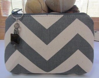 Small Grey Chevron Zippered Coin Purse, Clutch, Wristlet, Pouch