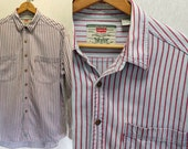 Mens Vintage LEVI STRAUSS Denim Railroad Stripes Lightwash Blue Jean Red & White Hickory Striped Button up Casual Work Shirt Large