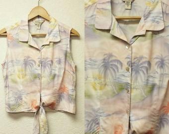 90s Vintage Tori Richards Tropical Print Tie Knot Button up Front Crop Top Tank Womens Sleeveless Hawaiian Shirt Pastel Palm Tree Small